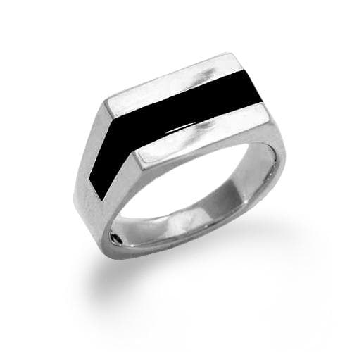 Black Coral Ring in Sterling Silver