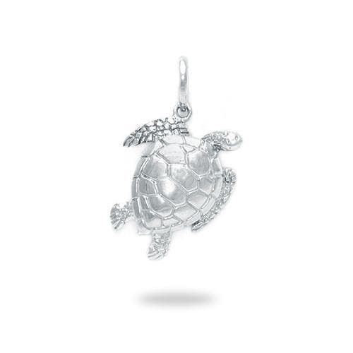 Sea Turtle Charm Pendant In Sterling Silver 18mm