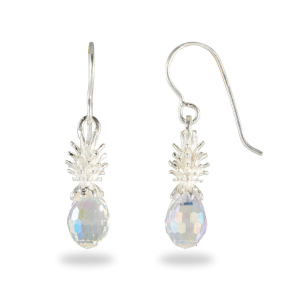Crystal Pineapple Dangle Earrings in Sterling Silver-Maui Divers Jewelry