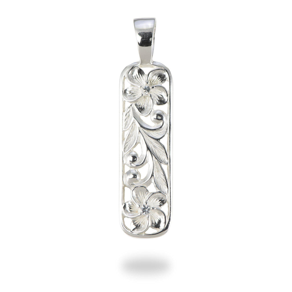 Hawaiian Heirloom Plumeria Scroll Pendant with Sapphire in Sterling Silver - Maui Divers Jewelry