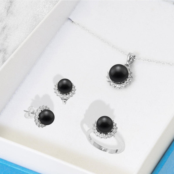 Black Coral Set in Sterling Silver 041-00655