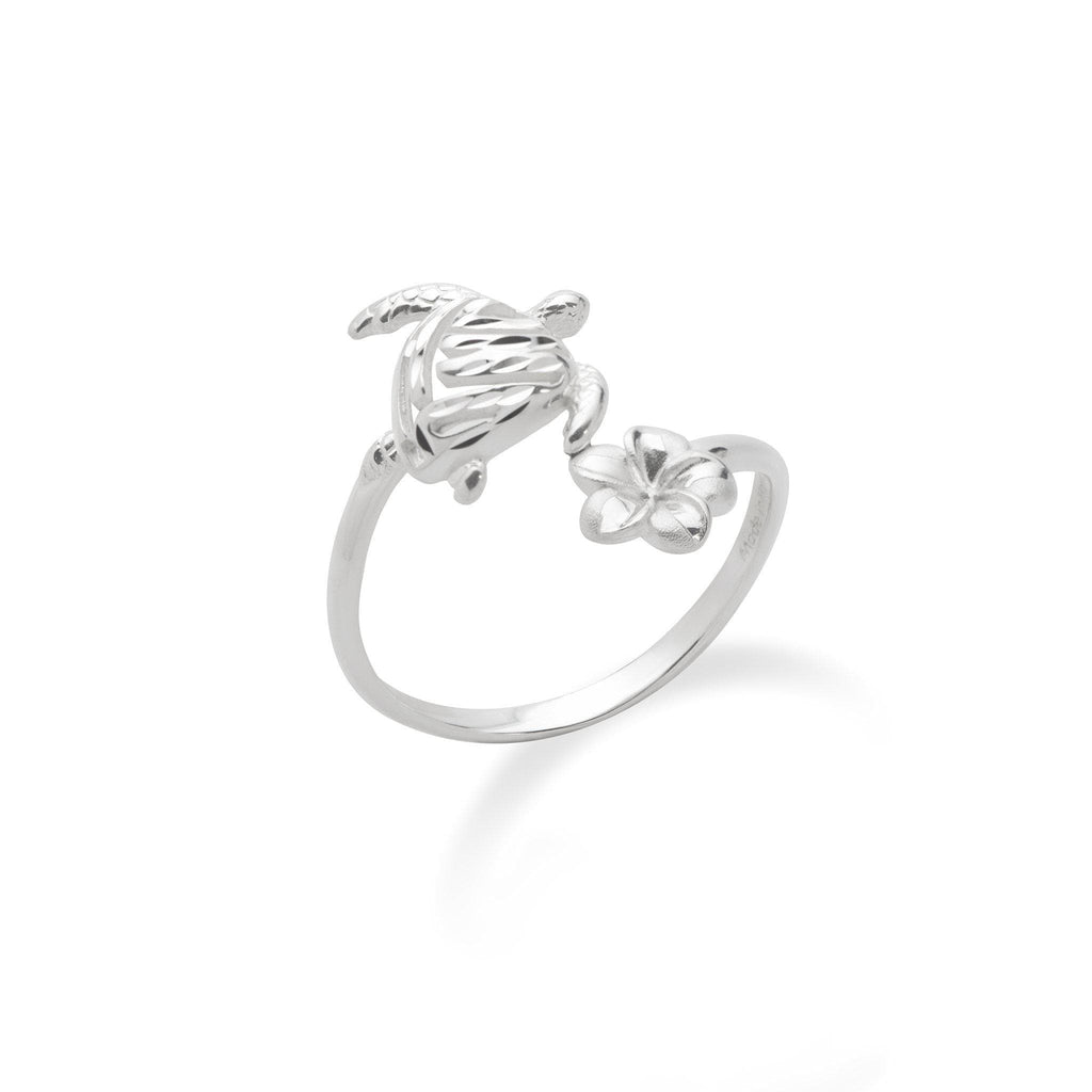 Honu (Sea Turtle) and Plumeria Ring in Sterling Silver