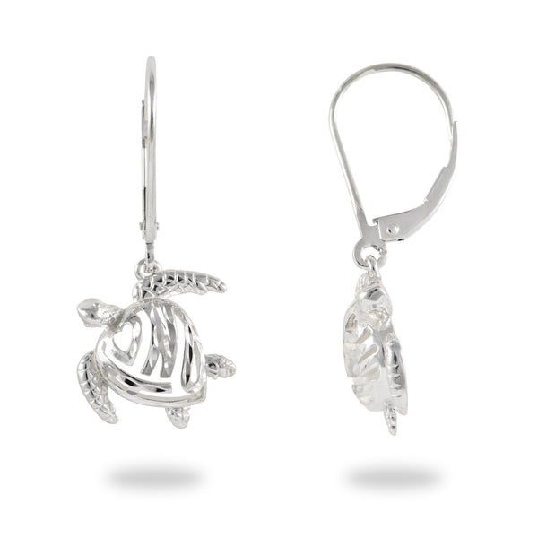 Honu Earrings in Sterling Silver - 14mm - Maui Divers Jewelry