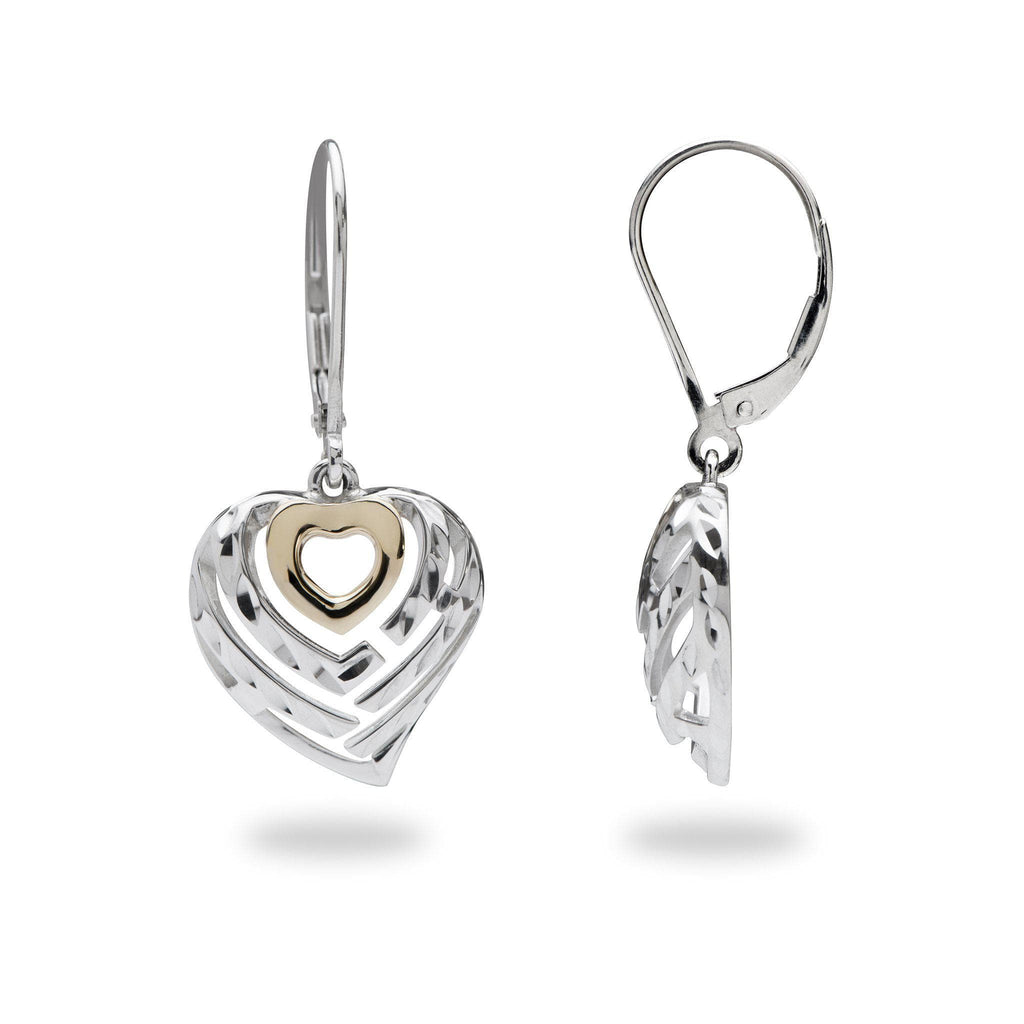 Aloha Heart Earrings in Sterling Silver and 14K Yellow Gold - 16mm