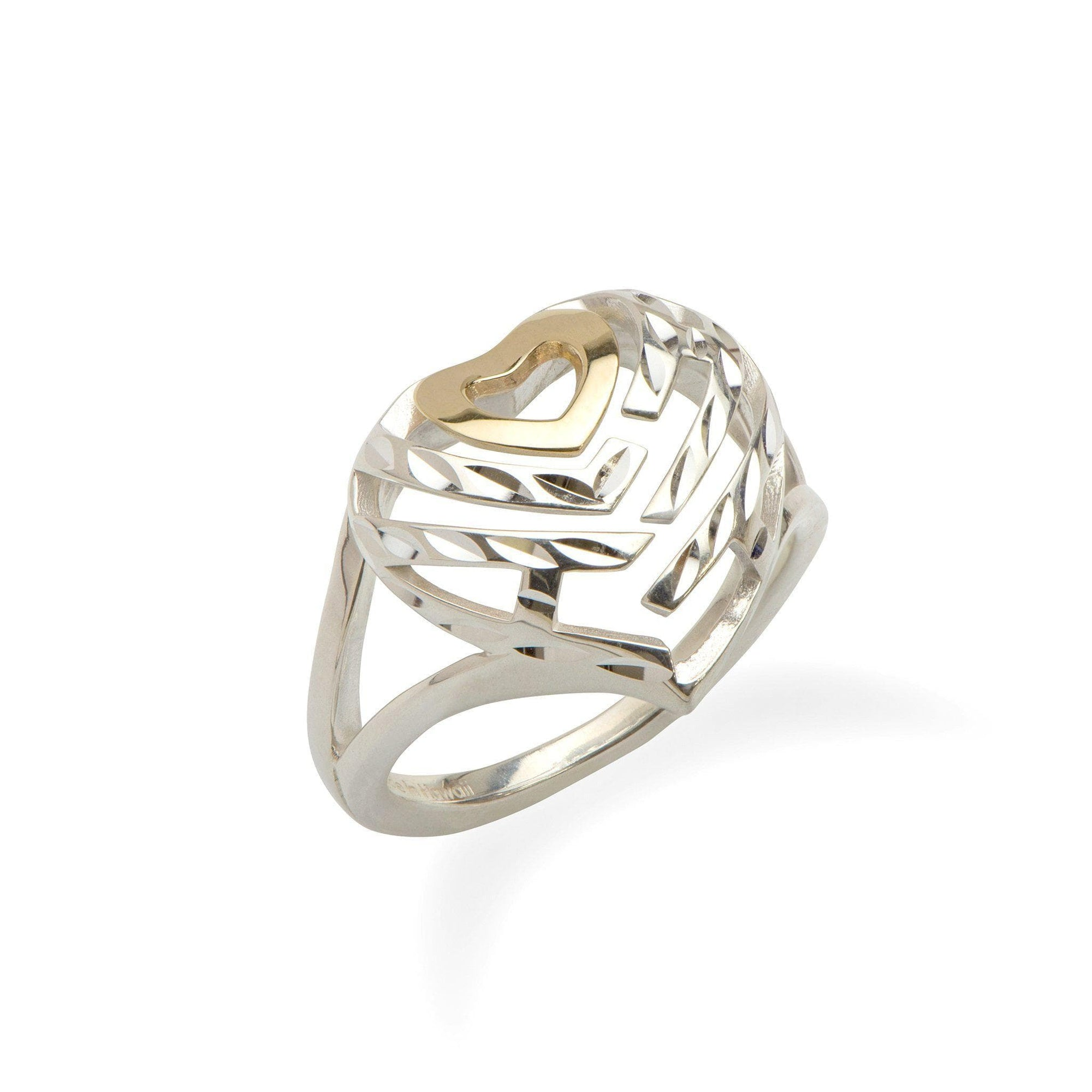 Aloha Heart Ring in Sterling Silver & 14K Yellow Gold - 17mm-[SKU]