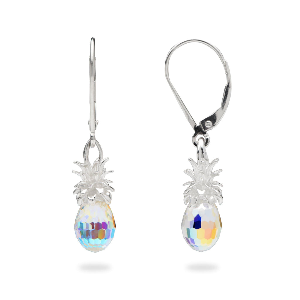 Crystal Pineapple Earrings in Sterling Silver - Maui Divers Jewelry