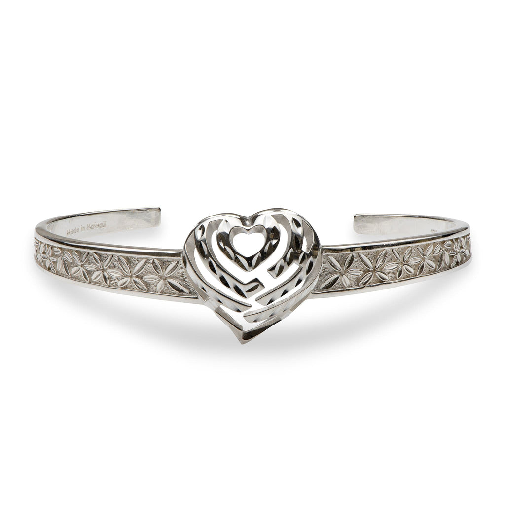 Aloha Heart Cuff Bracelet in Sterling Silver - Maui Divers Jewelry