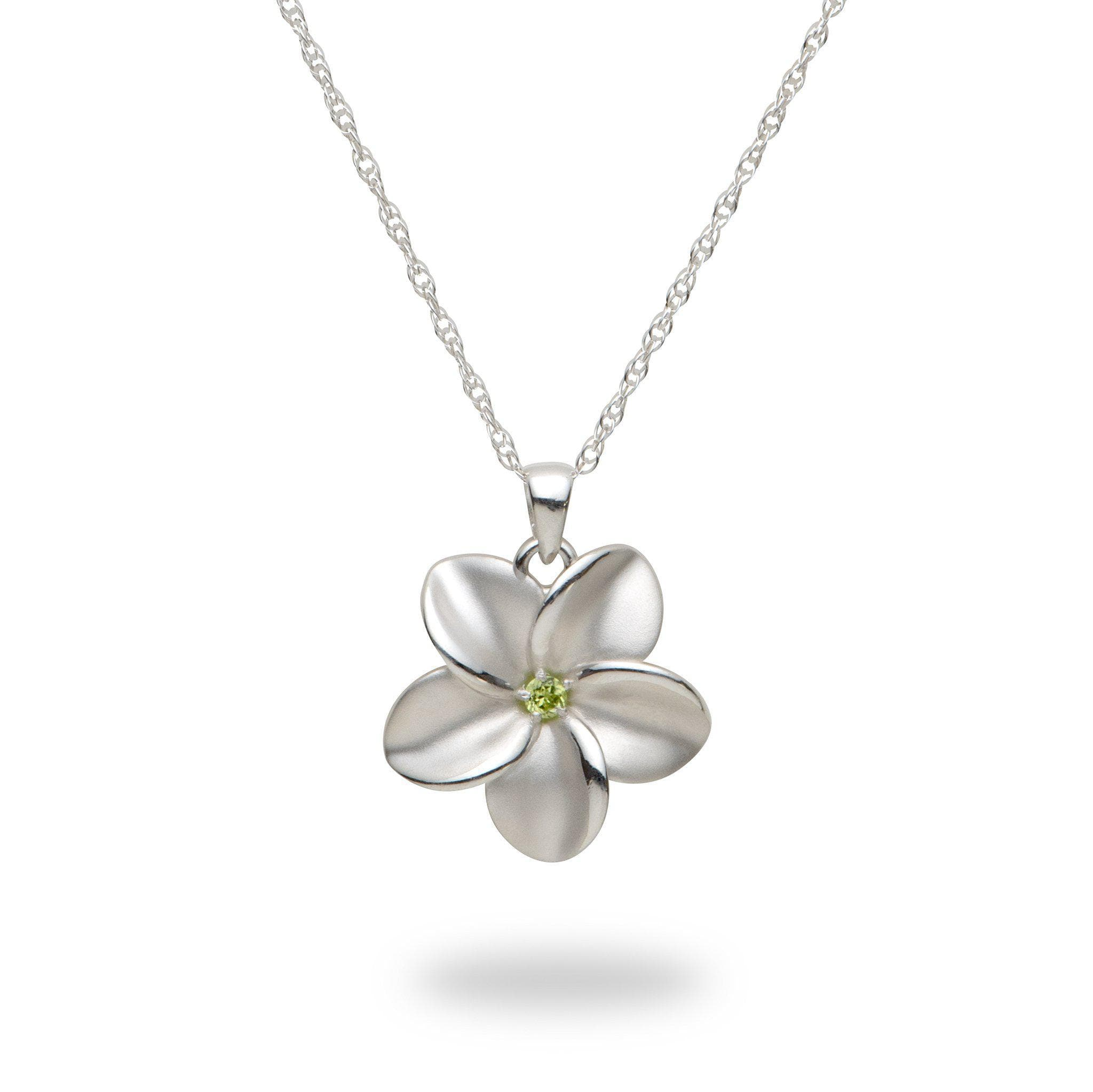 Plumeria Necklace with Peridot in Sterling Silver - 23mm