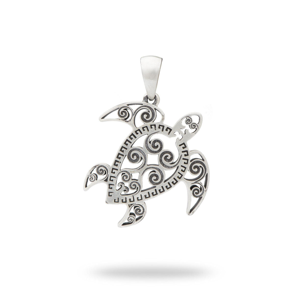 Honu (Turtle) Pendant in Sterling Silver (30mm)