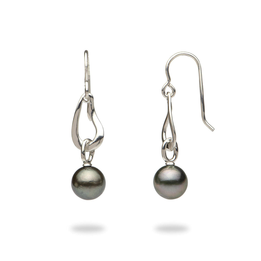 Tahitian Black Pearl Earrings in Sterling Silver (9-10mm)-[SKU]