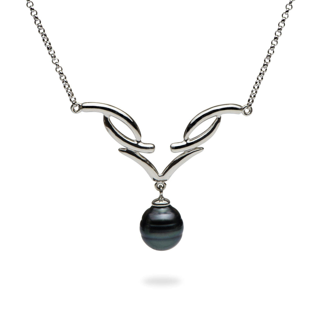 Tahitian Black Pearl (10-12mm) Necklace in Sterling Silver