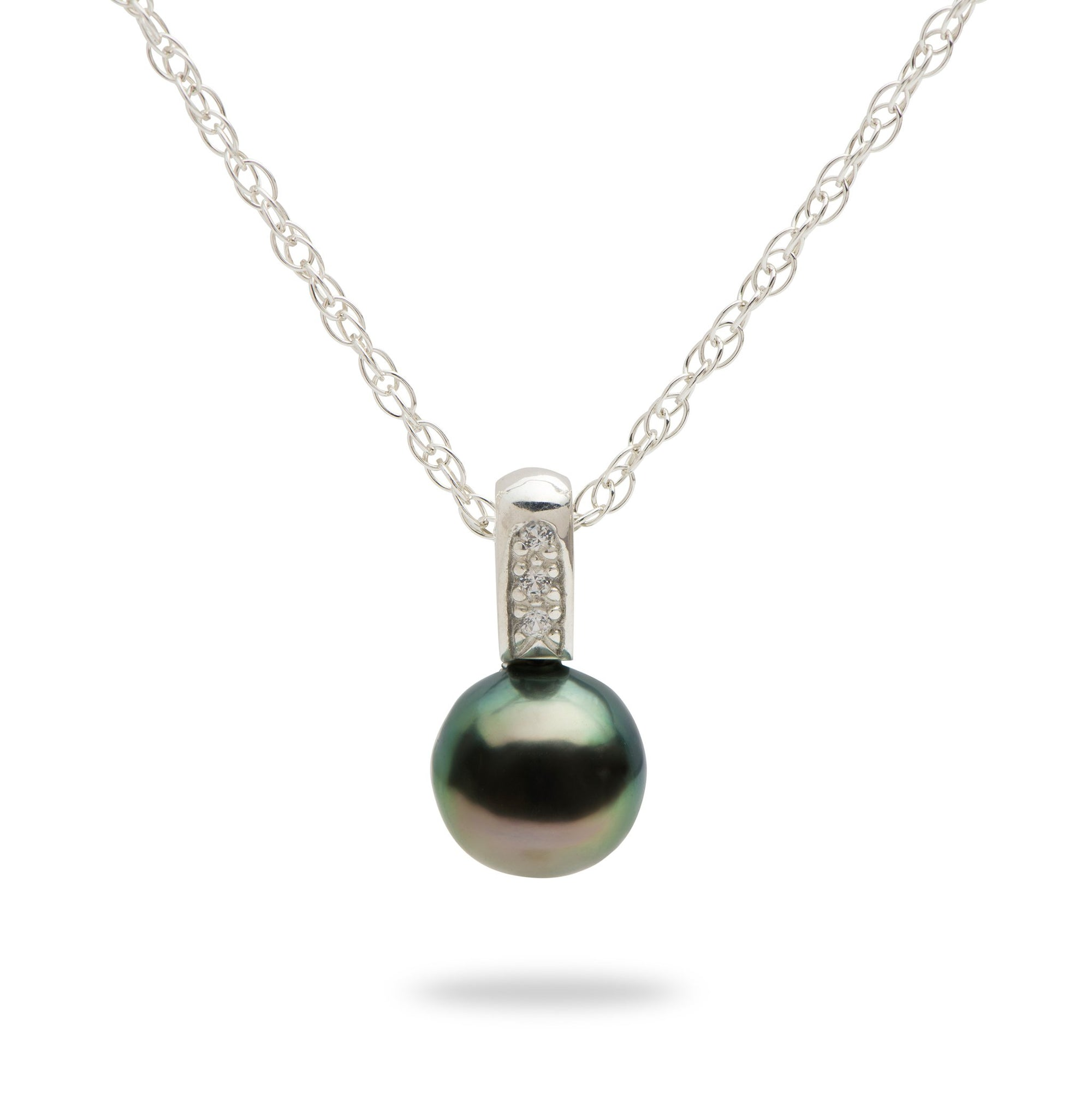 Tahitian Black Pearl Necklace with Sapphires in Sterling Silver-8-10mm-[SKU]