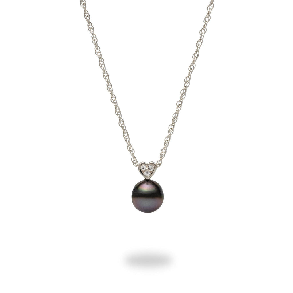 Tahitian Black Pearl Necklace in Sterling Silver