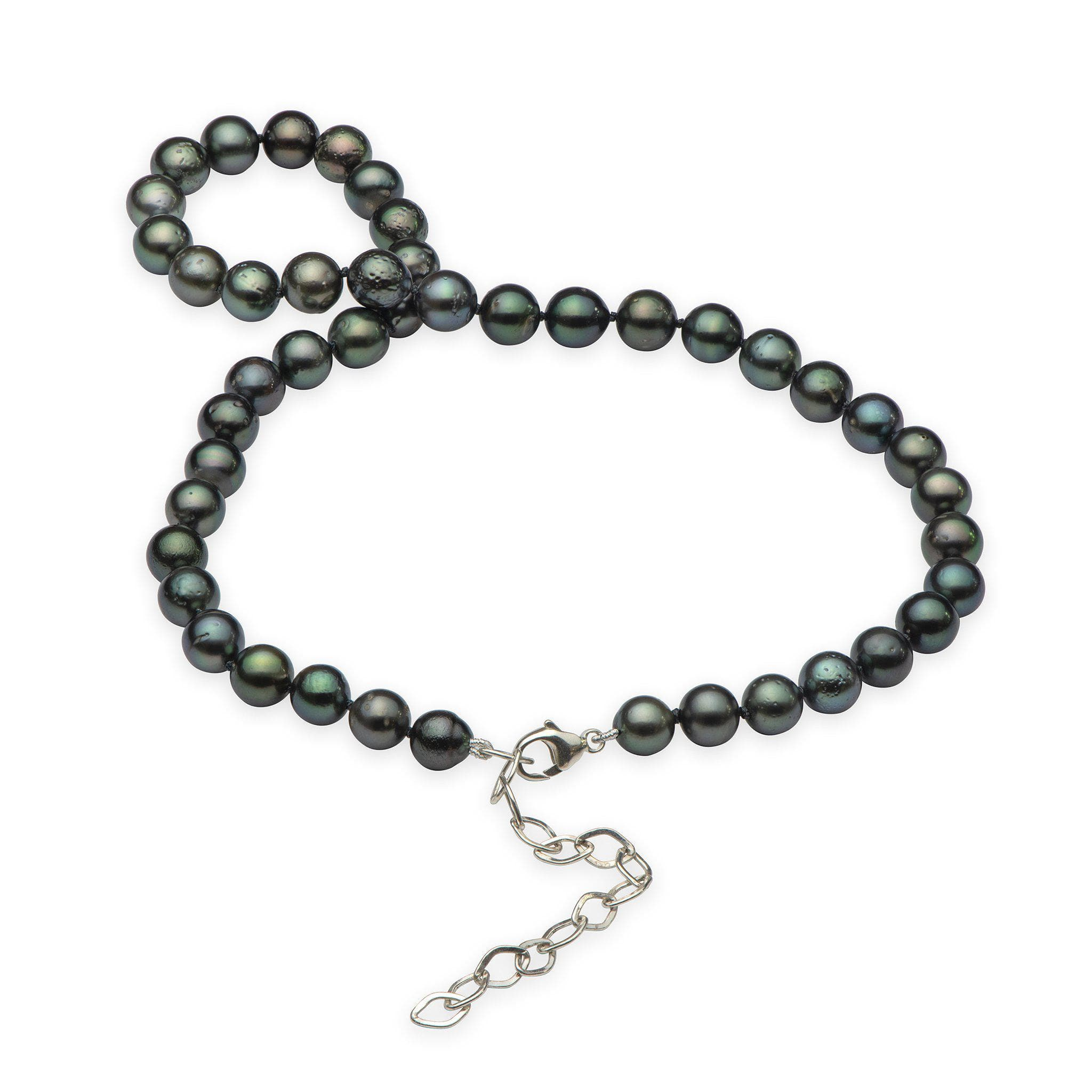 Tahitian Black Pearl (7-8mm) Strand in Sterling Silver