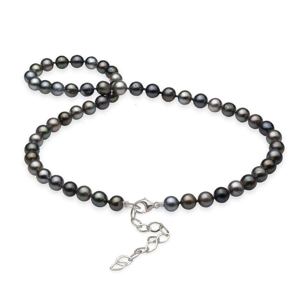 Tahitian Black Pearl Strand in Sterling Silver (7-8mm)-[SKU]