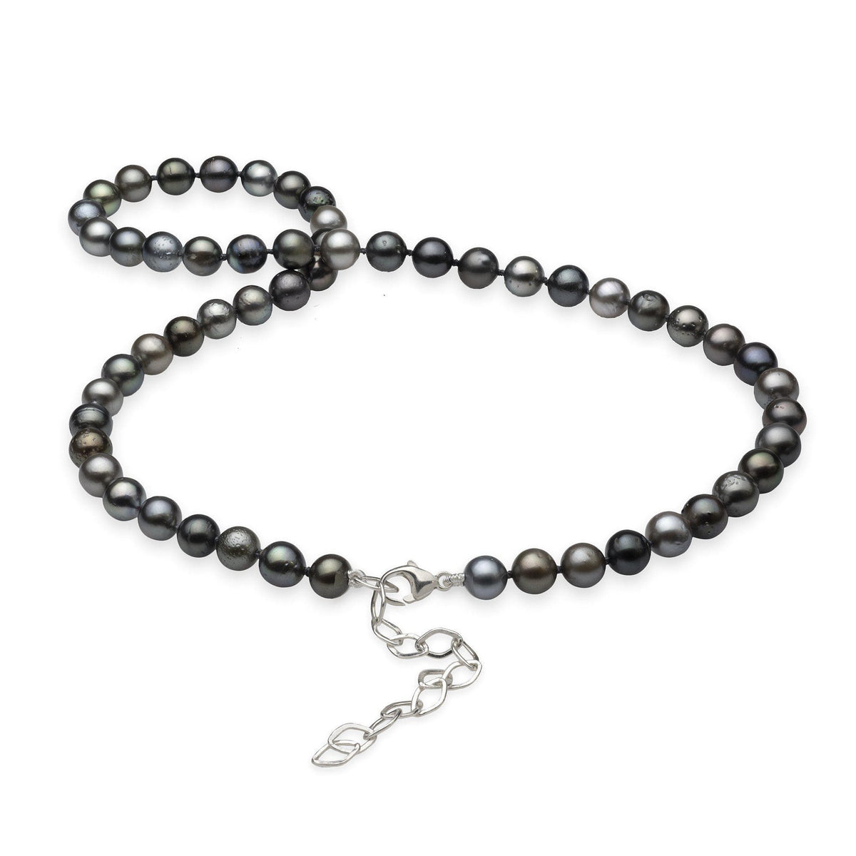 Tahitian Black Pearl Strand in Sterling Silver (7-8mm)