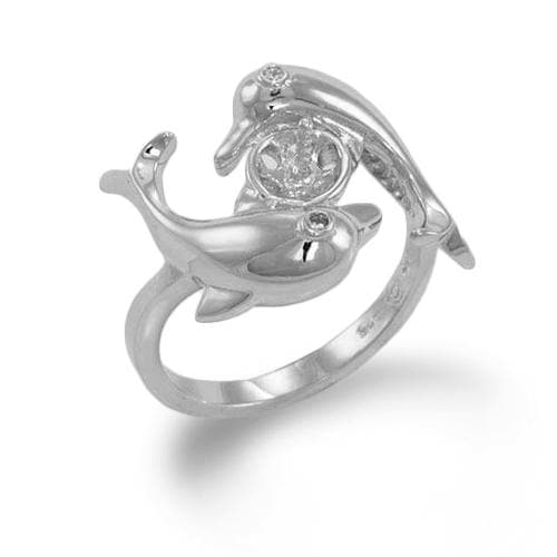 Pick-a-Pearl Dolphin Ring in Sterling Silver