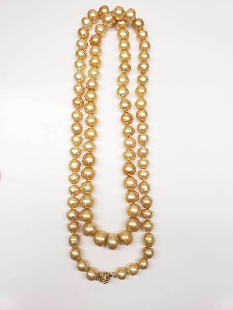 South Sea Golden Pearl Strand in 14K Yellow Gold (10-15mm)