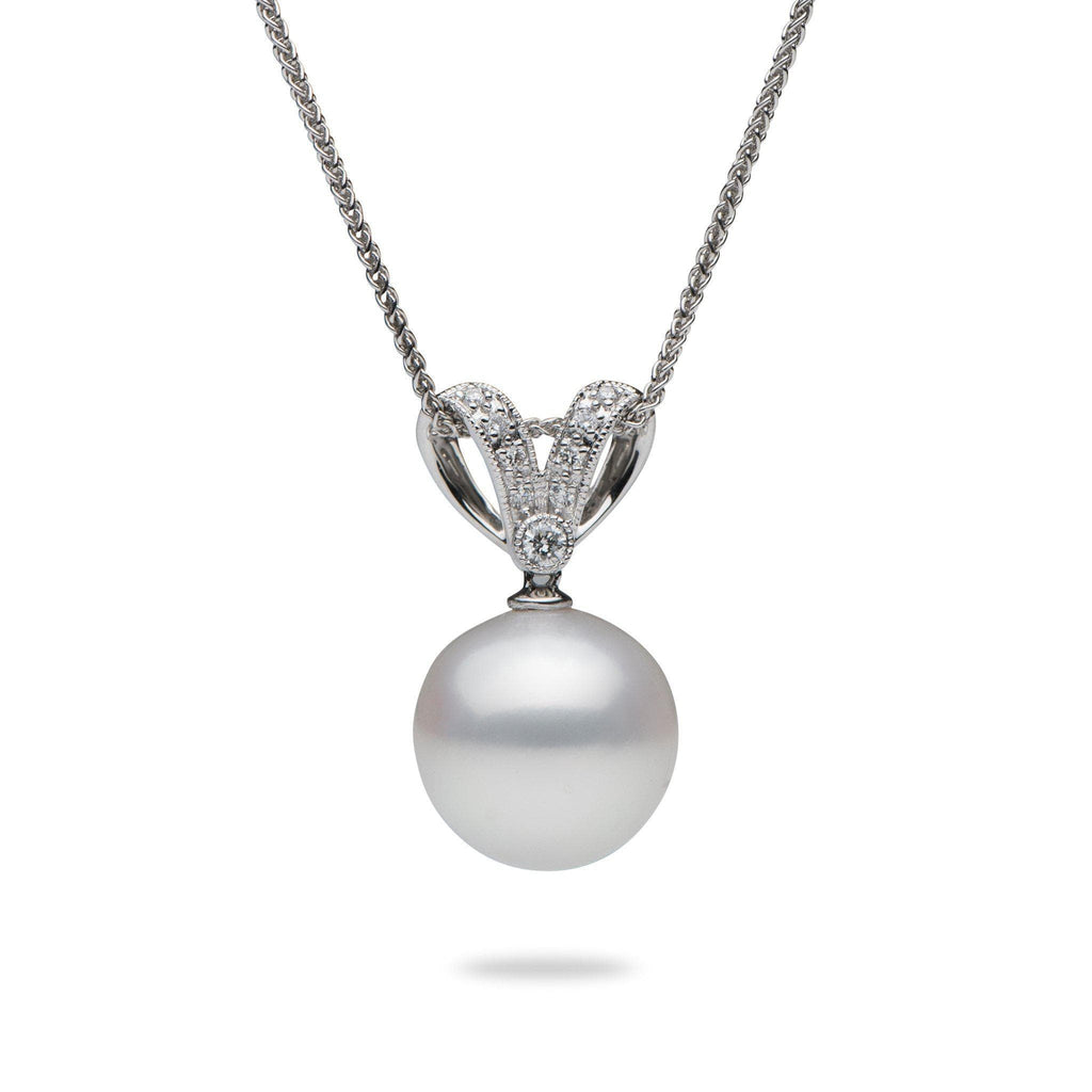 "16"" South Sea White Pearl Necklace with Diamonds in 14K White Gold (12-13mm) - Maui Divers Jewelry"