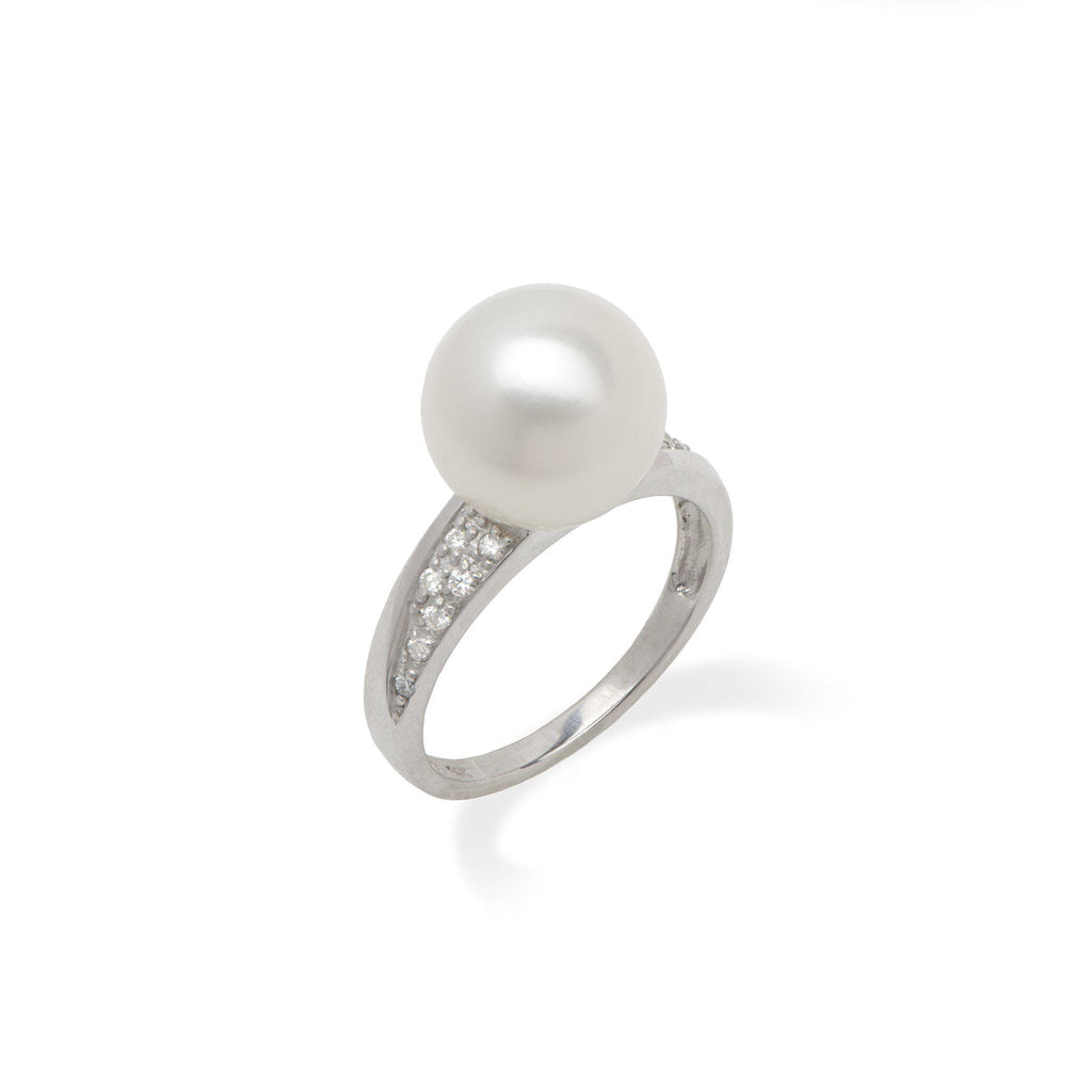 South Sea Pearl Ring in White Gold with Diamonds - Maui Divers Jewelry