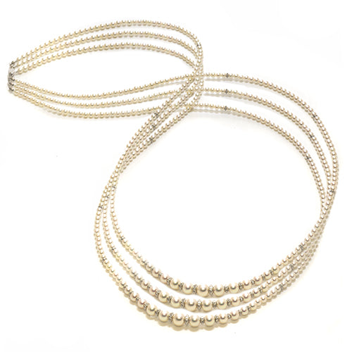 "28-32"" Triple Akoya Pearl Strand in 18K White Gold (3.4-7.5mm) - Maui Divers Jewelry"