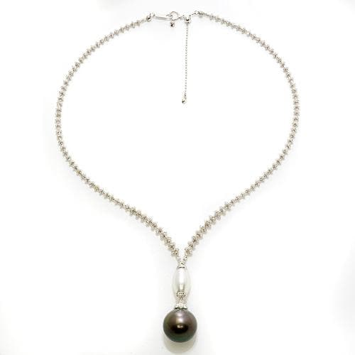 Tahitian Black Pearl Necklace in 18K White Gold 043-25245
