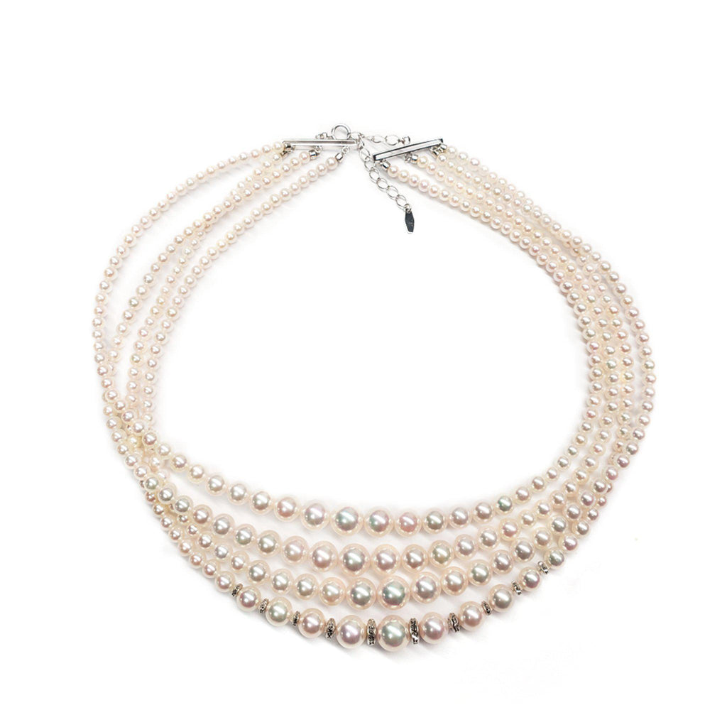 "16"" Quadruple Akoya Pearl Necklace in 18K White Gold (3.4-7.5mm)"
