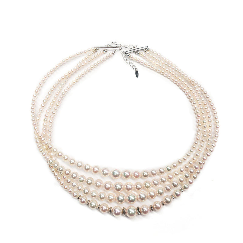 "16"" Akoya Pearl Necklace in White Gold"