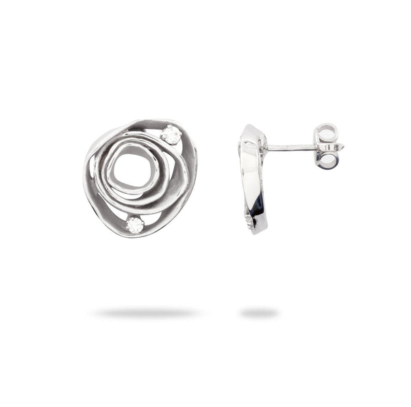 Swirls Post Earrings with Diamonds in 18K White Gold - Maui Divers Jewelry