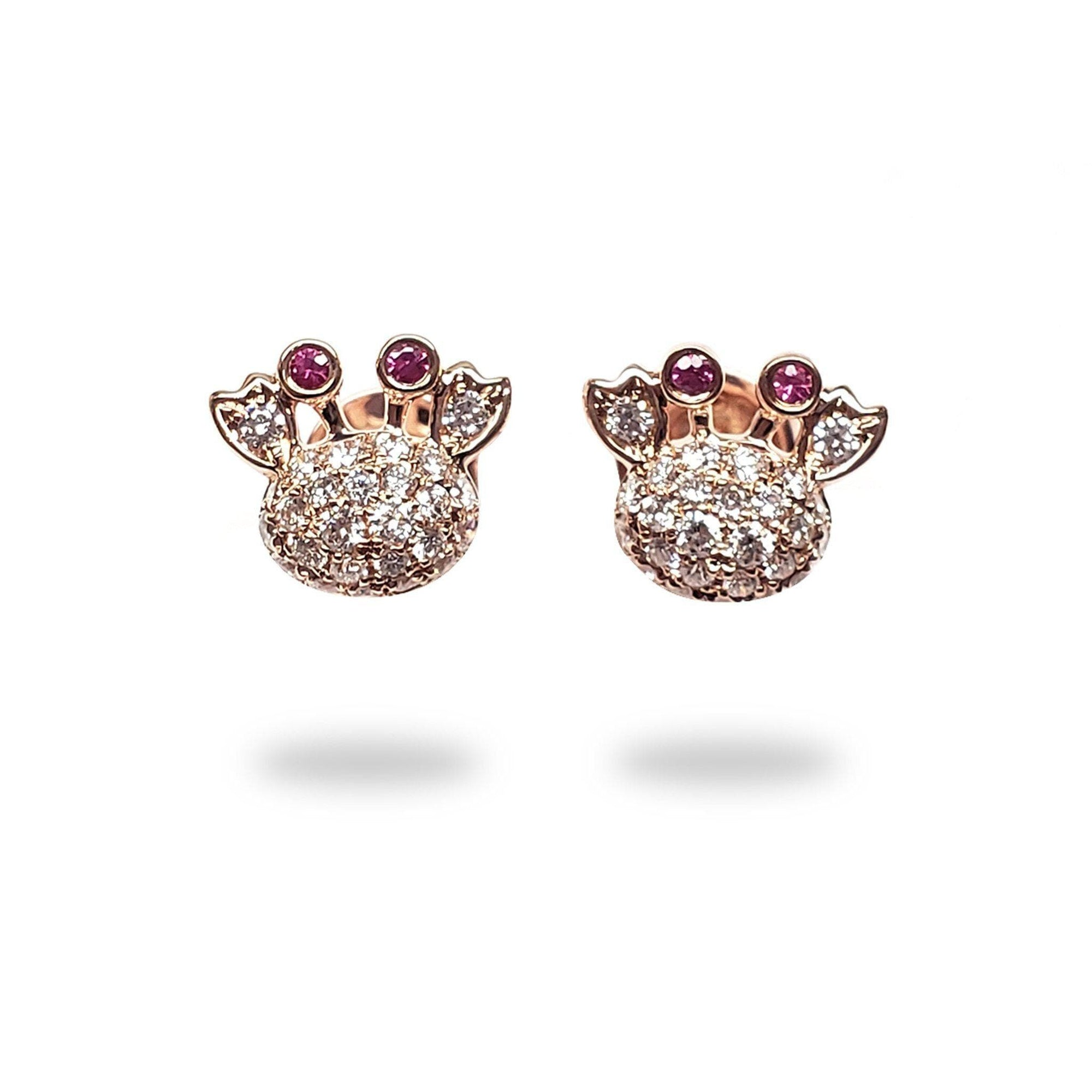 Crab Pink Sapphire Earrings with Diamonds in 14K Rose Gold - Maui Divers Jewelry