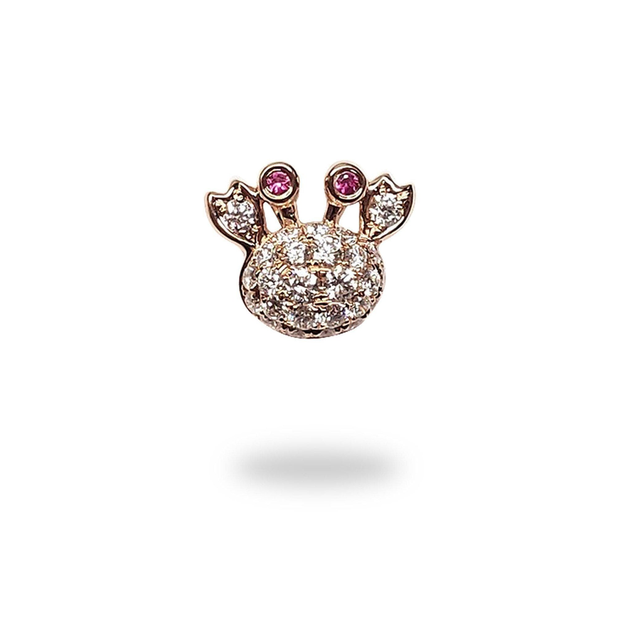 Crab Pink Sapphire Pendant with Diamonds in 14K Rose Gold - Maui Divers Jewelry