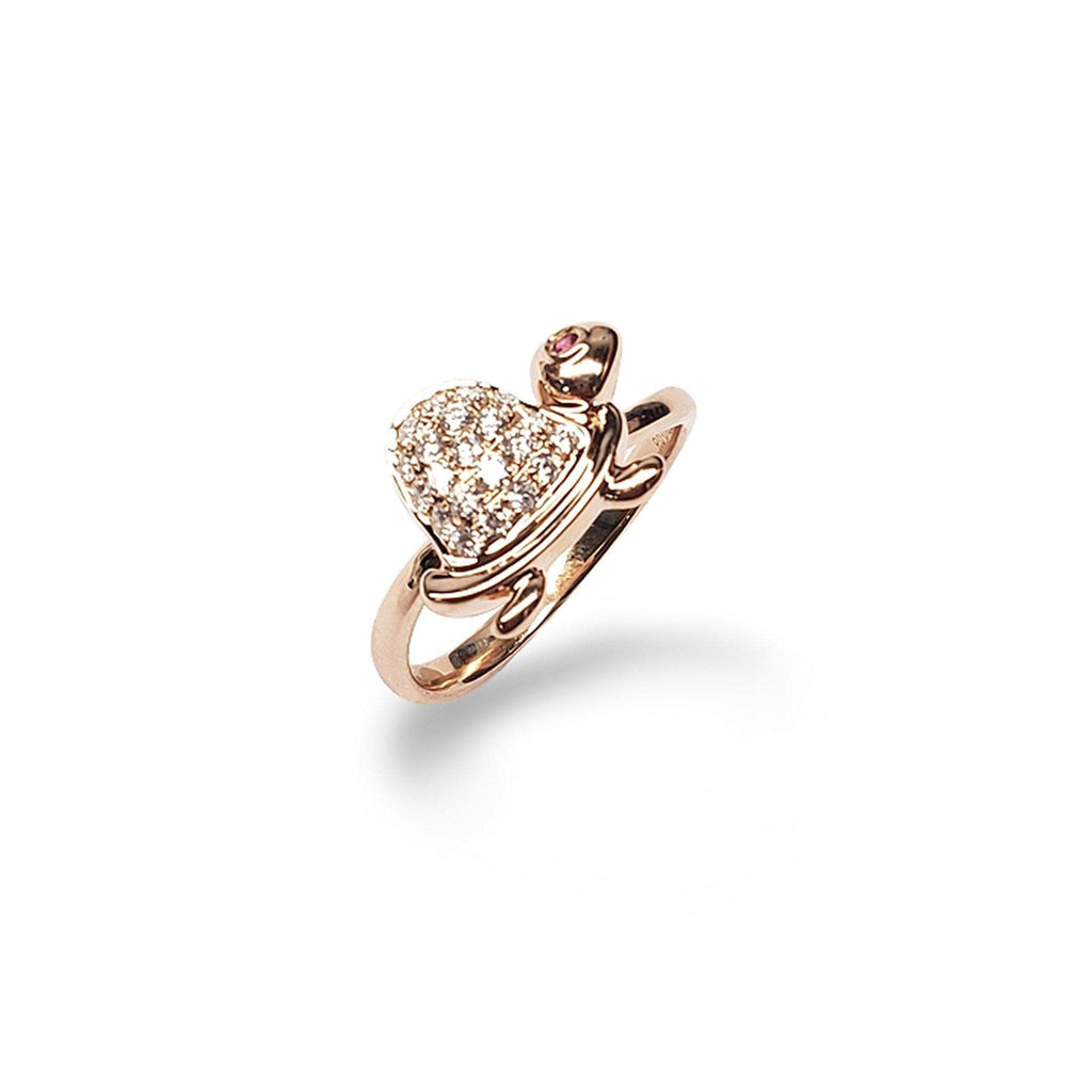 Turtle Pink Sapphire Ring with Diamonds in 14K Rose Gold - Maui Divers Jewelry