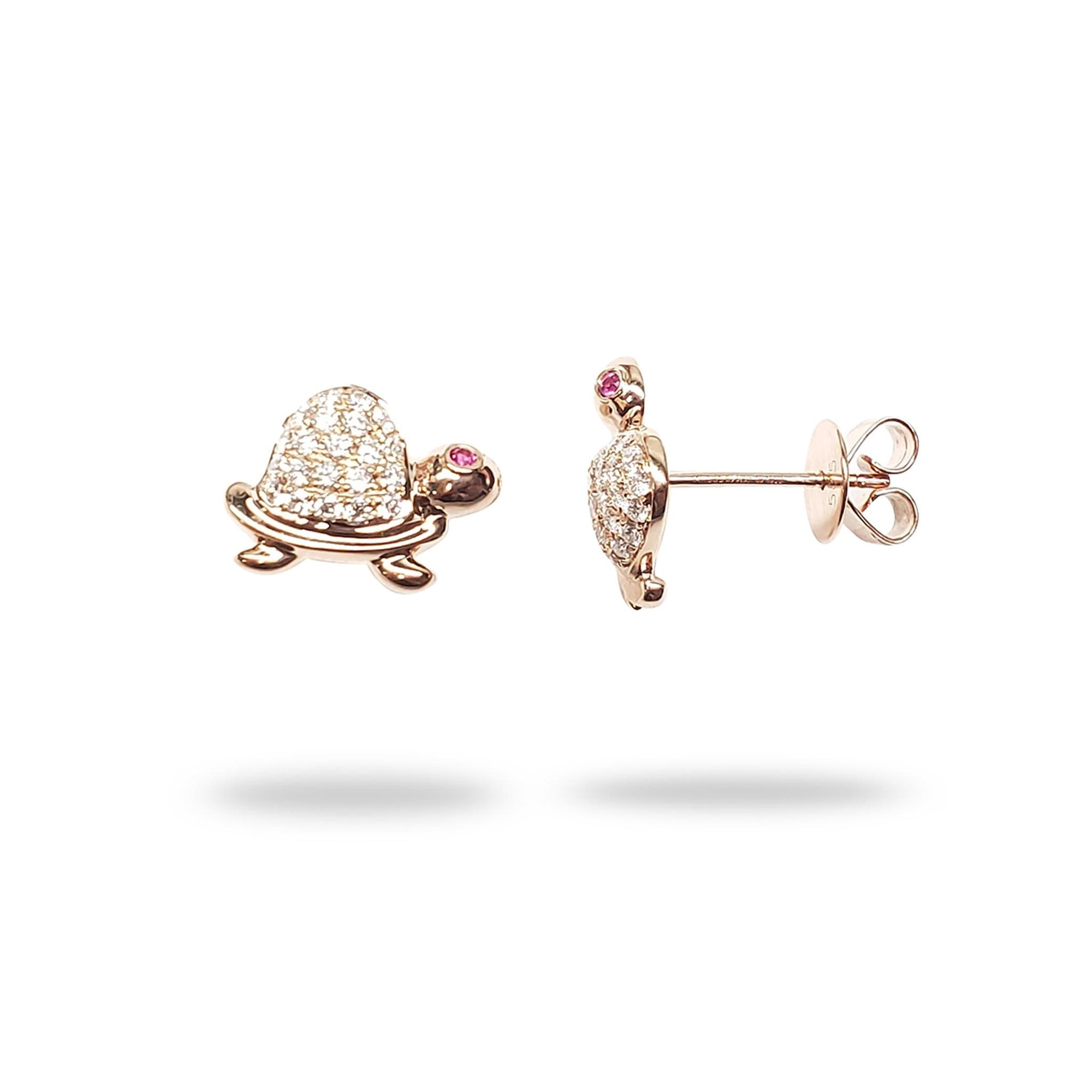 Turtle Pink Sapphire Earrings with Diamonds in 14K Rose Gold - Maui Divers Jewelry
