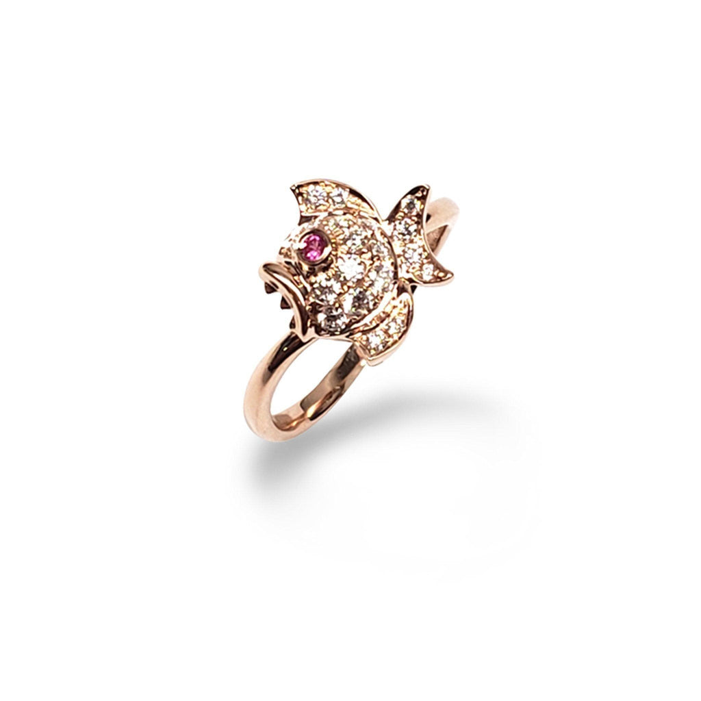 Puffy Fish Pink Sapphire Ring with Diamonds in 14K Rose Gold - Maui Divers Jewelry