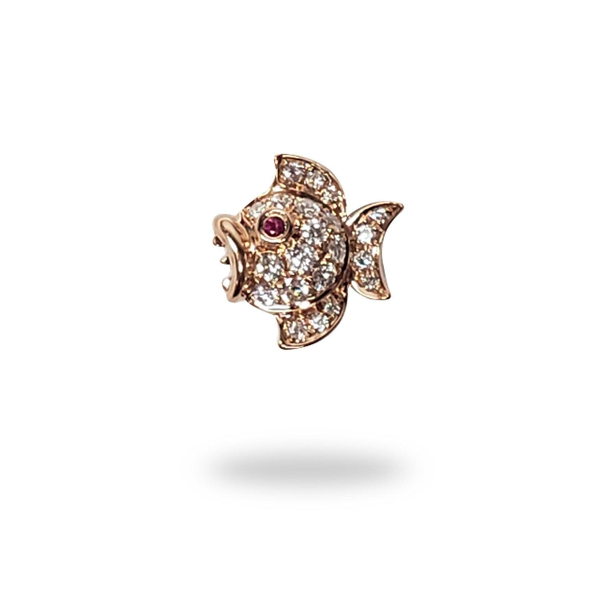 Puffy Fish Sapphire Pendant with Diamonds in 14K Rose Gold - Maui Divers Jewelry