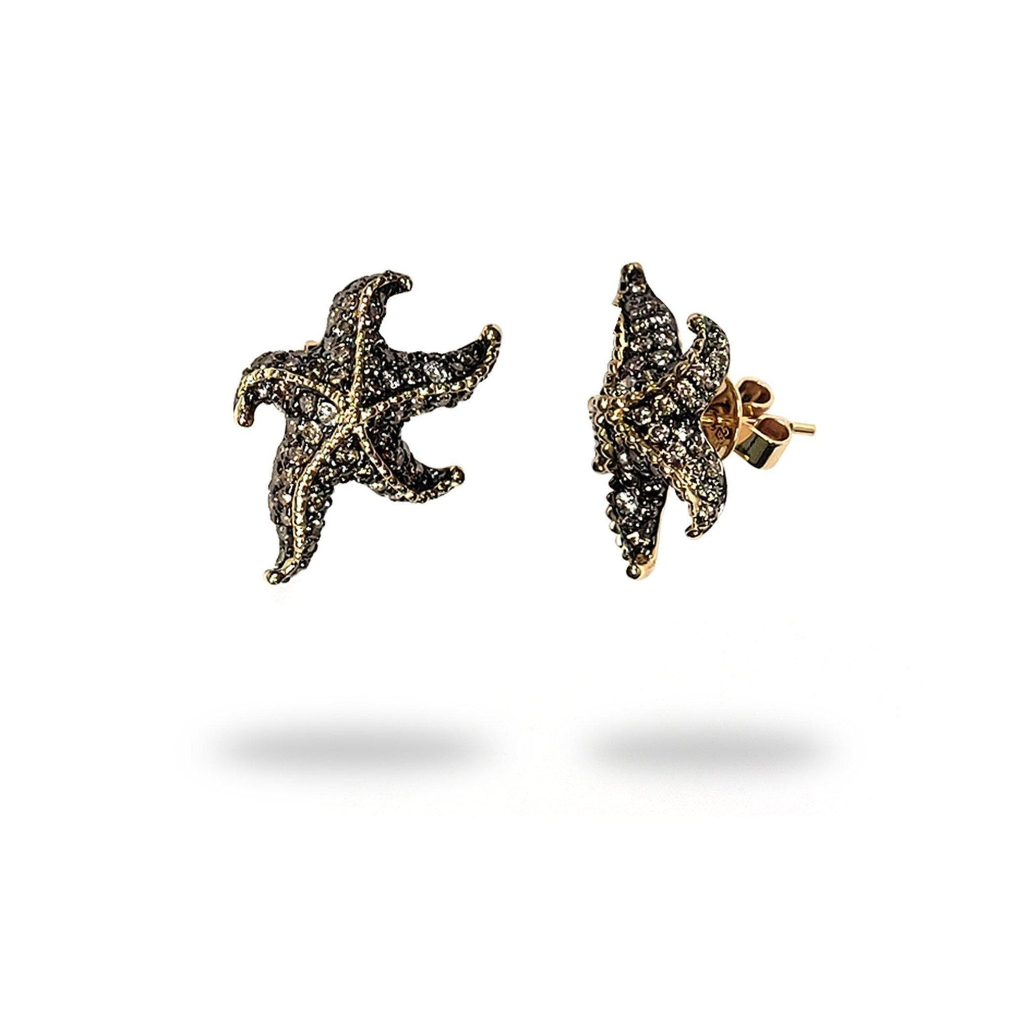 Starfish Stud Earrings with Diamonds in 14K Yellow Gold - Maui Divers Jewelry