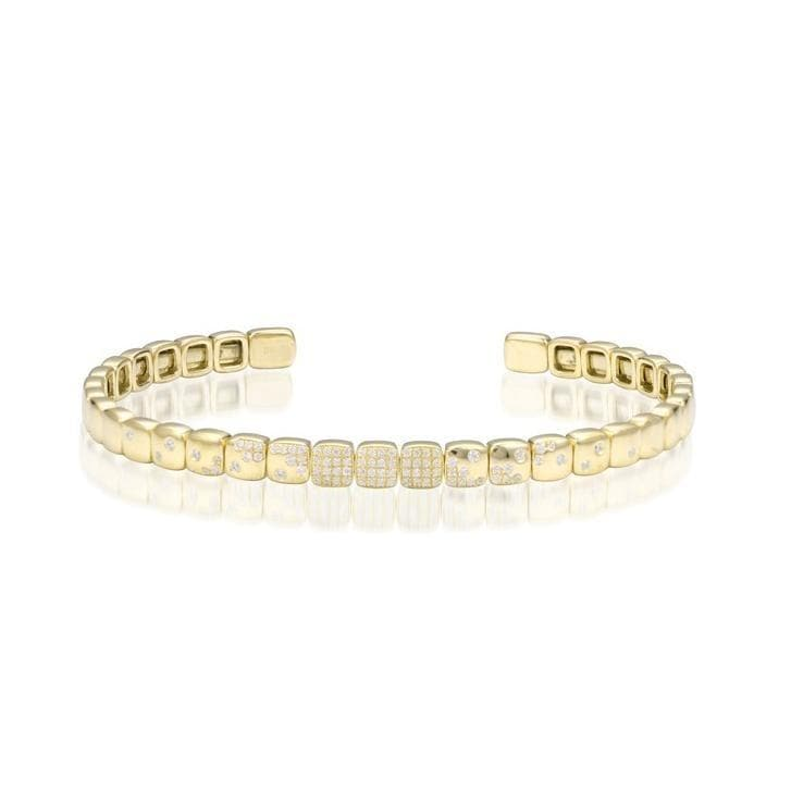 Square Flexible Cuff Bracelet with Diamonds in 14K Yellow Gold - Maui Divers Jewelry