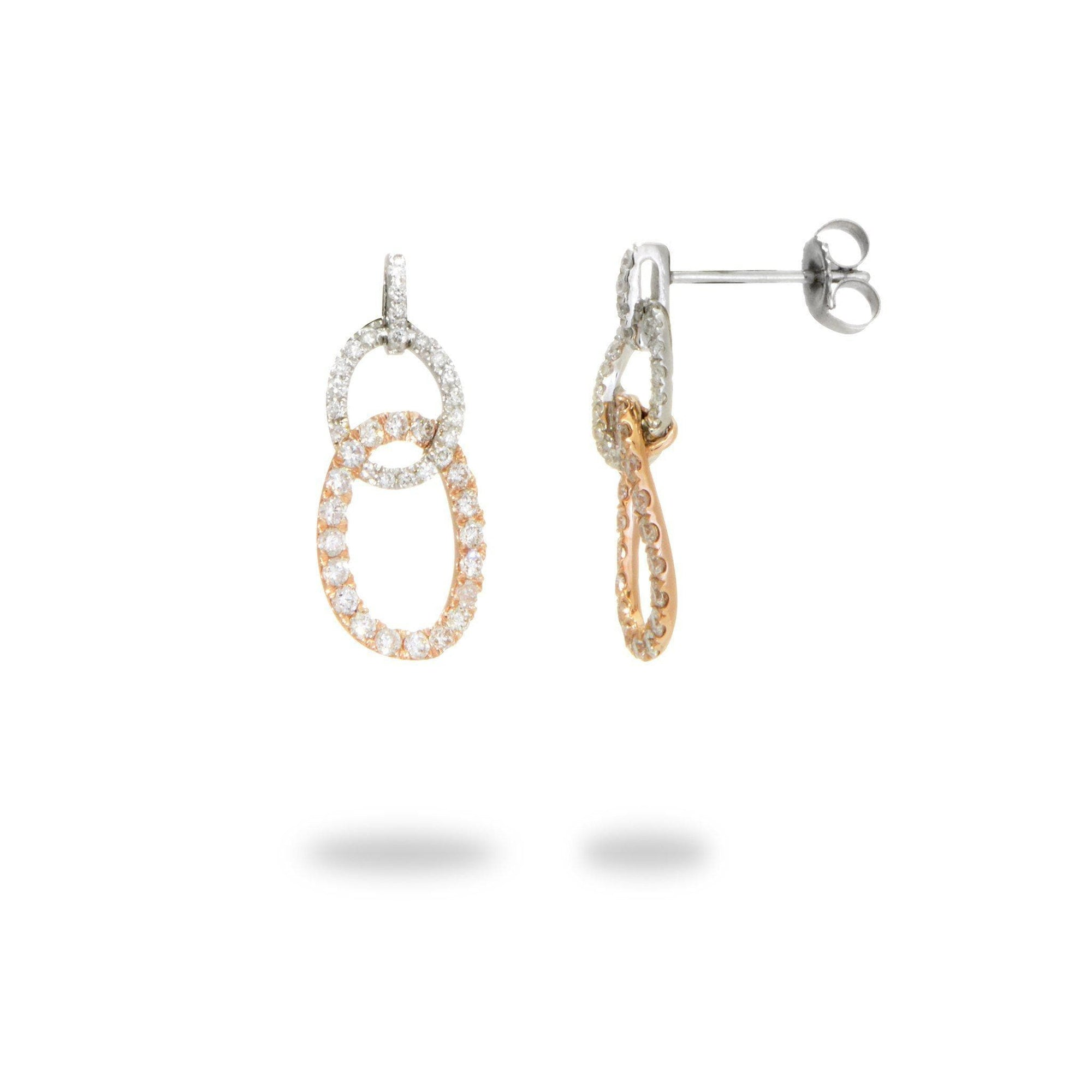 Interlooping Oval Diamond Earrings in 14K White and Rose Gold - Maui Divers Jewelry