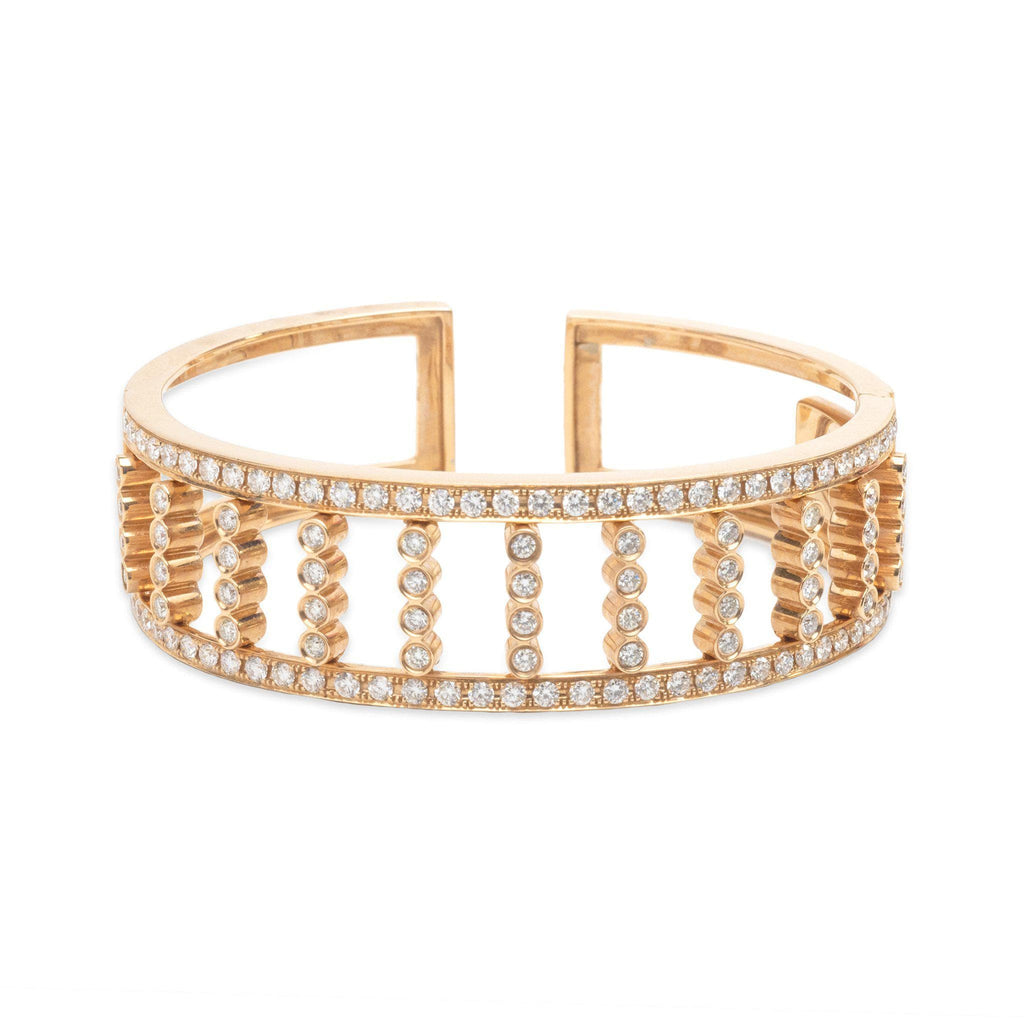 Diamond Cuff Bracelet in 14K Rose Gold-[SKU]