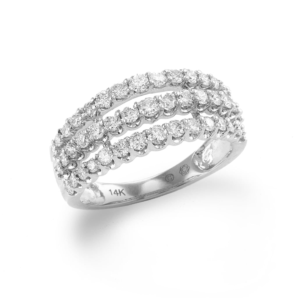 Three-rows Diamond Ring in 14k White Gold-047-57218