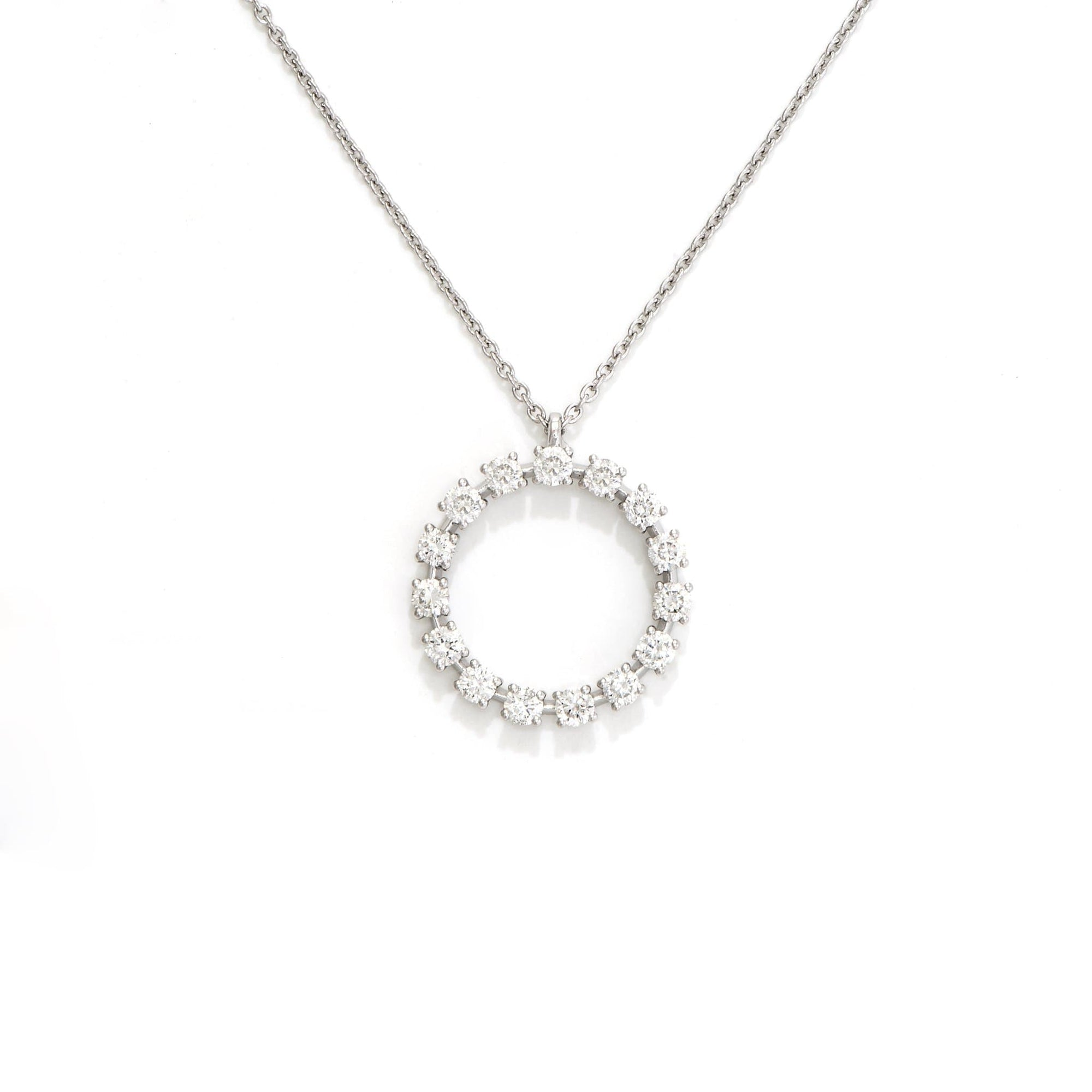 "18"" Adjustable Circle Necklace with Diamonds in 14K White Gold - Maui Divers Jewelry"