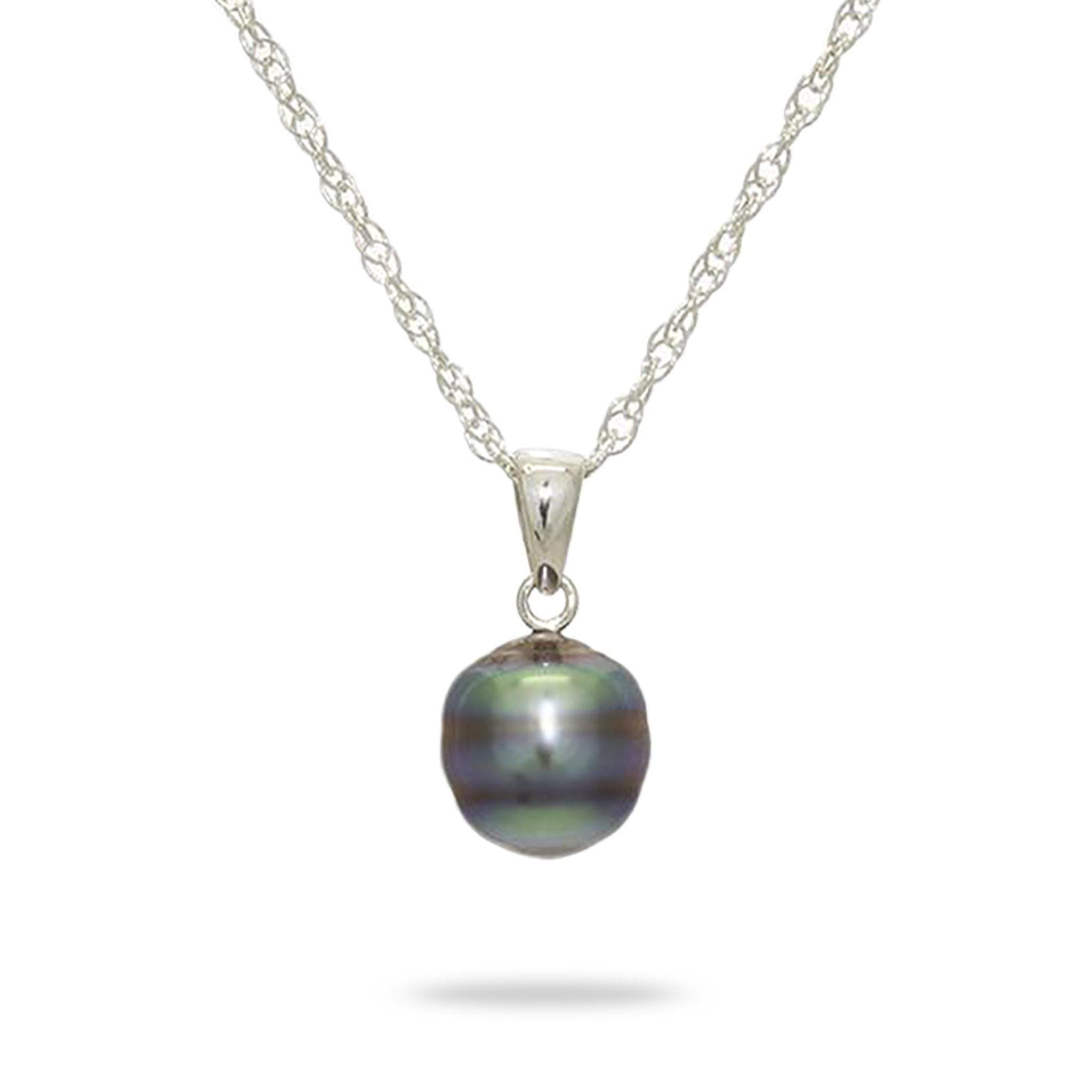 305489bede4 Tahitian Black Pearl Necklace in Sterling Silver (8-10mm)
