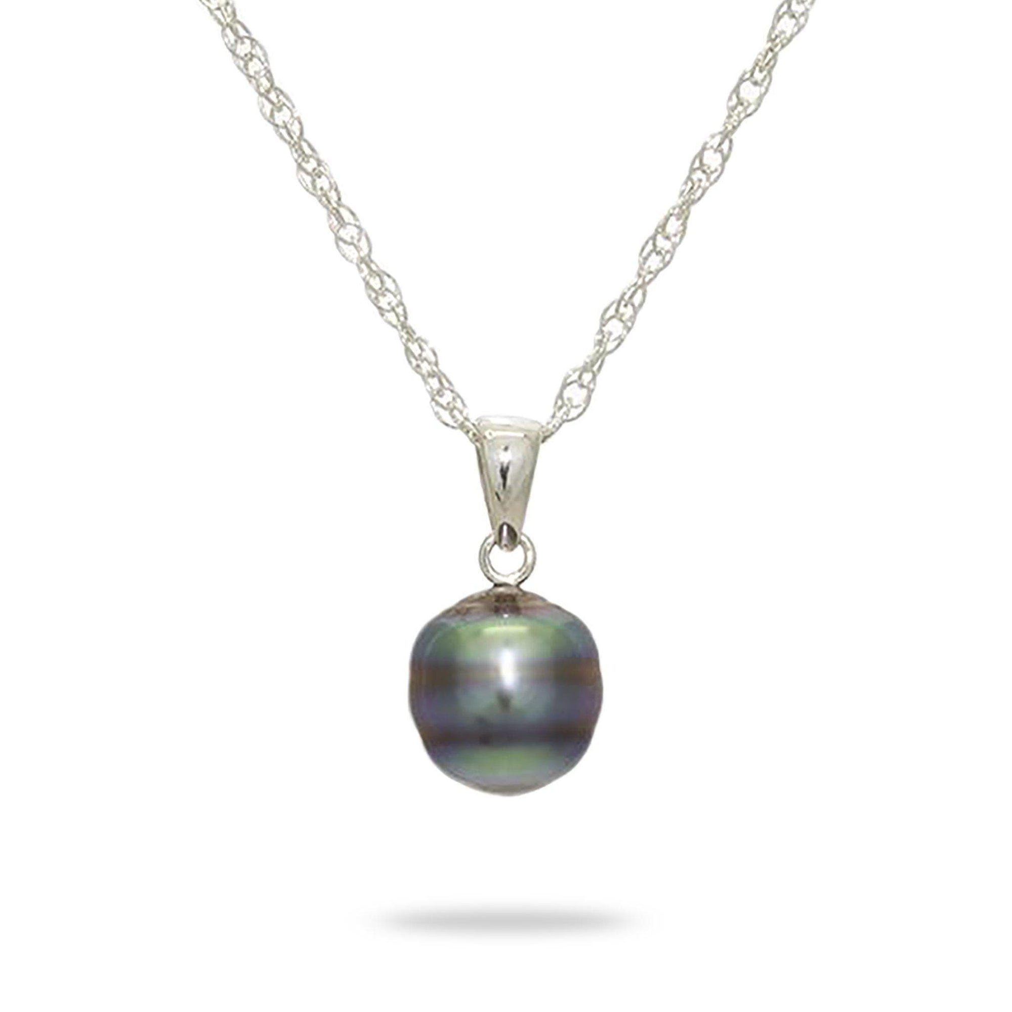 Tahitian Black Pearl Necklace in Sterling Silver (8-10mm)-[SKU]