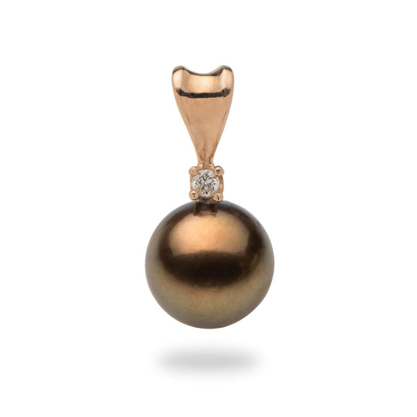Chocolate Tahitian Pearl Pendant with Diamonds in Rose Gold-Maui Divers Jewelry
