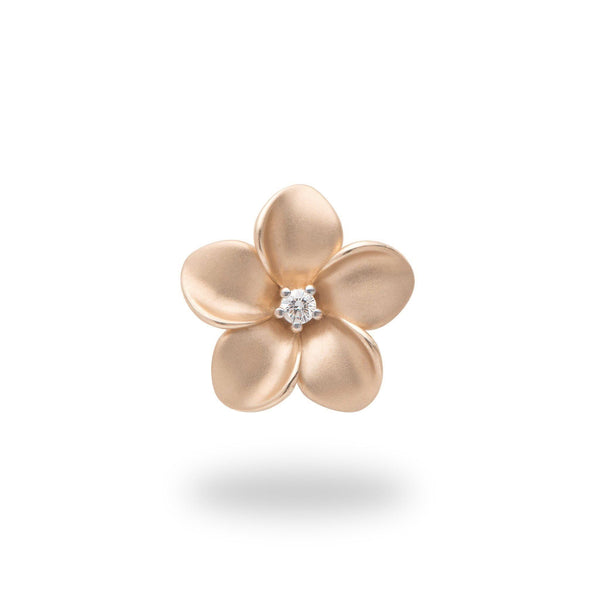 Plumeria Pendant in Rose Gold with Diamond - 16mm-Maui Divers Jewelry