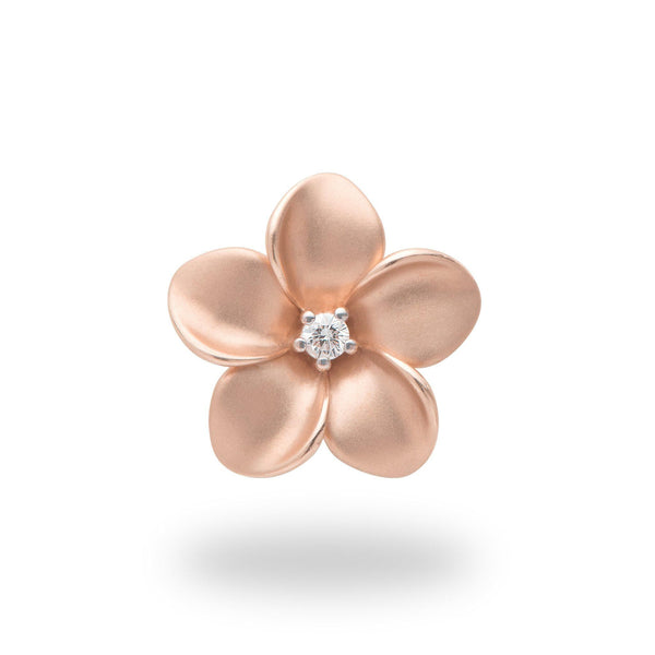 Plumeria Pendant in Rose Gold with Diamond - 20mm-Maui Divers Jewelry