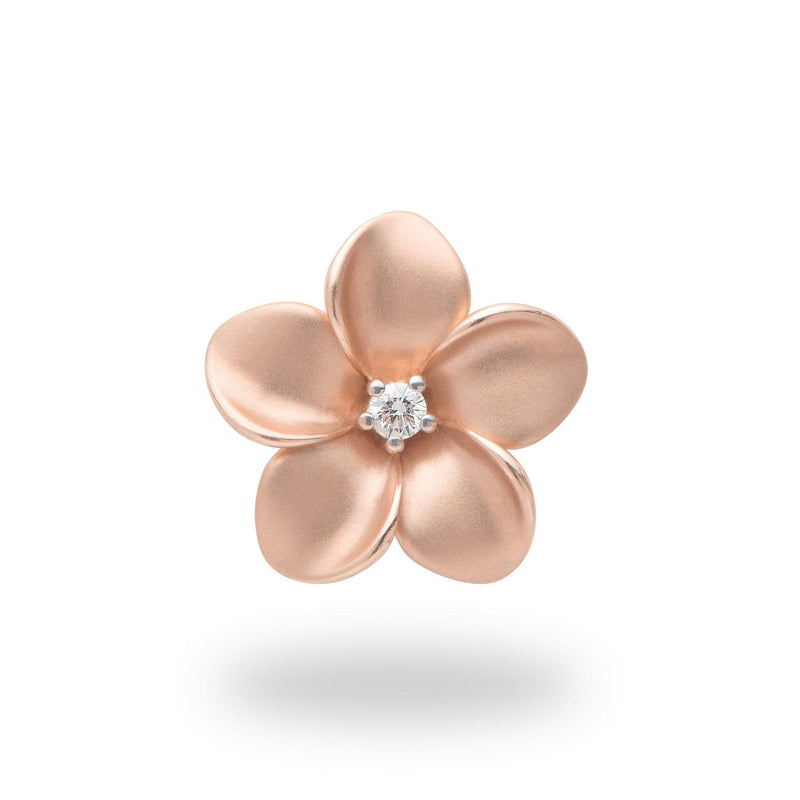 Plumeria Pendant in Rose Gold with Diamond - 20mm