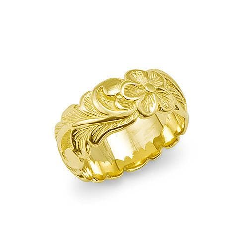 Plumeria Scroll 8mm Ring in 14K Yellow Gold - Sizes 5-5.75