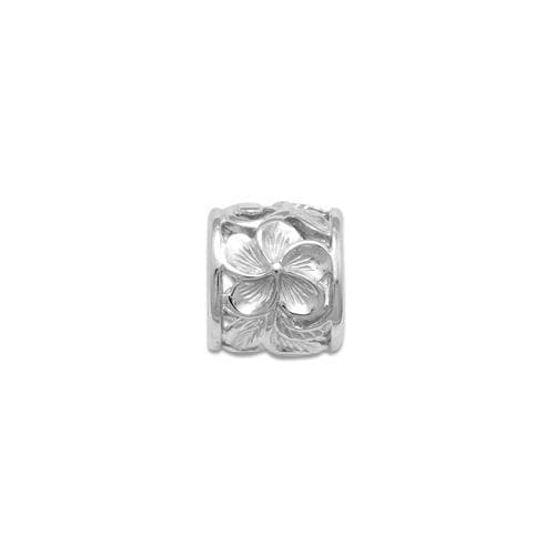 Hawaiian Heirloom Plumeria Scroll 9mm Slide Pendant in 14K White Gold - Maui Divers Jewelry