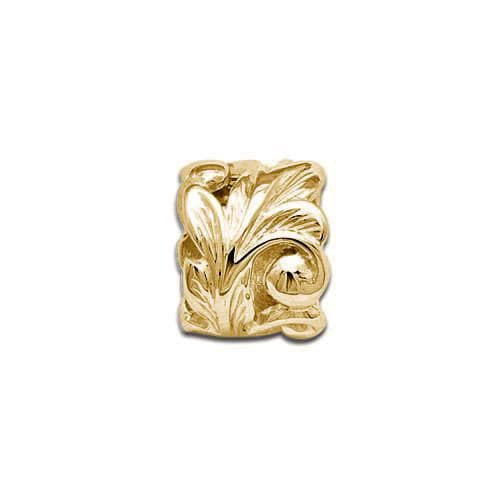 Hawaiian Heirloom Maile Scroll 8mm Slide Pendant in 14K Yellow Gold
